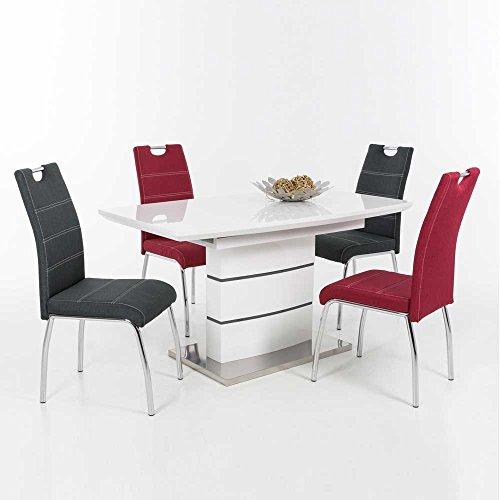 esstisch mit st hlen in wei hochglanz rot anthrazit 5. Black Bedroom Furniture Sets. Home Design Ideas