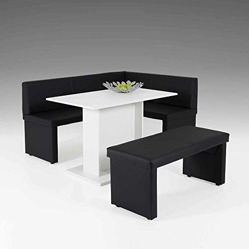esszimmer sitzgruppe mit eckbank schwarz wei 3 teilig pharao24 m bel24. Black Bedroom Furniture Sets. Home Design Ideas