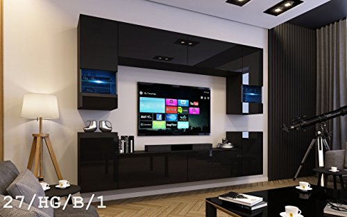 future 27 moderne wohnwand exklusive mediambel tv schrank schrankwand tv element anbauwand neue. Black Bedroom Furniture Sets. Home Design Ideas