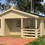Ferienhaus F8 inkl. Fußboden - 70 mm Blockbohlenhaus, Grundfläche: 39,10 m², Satteldach