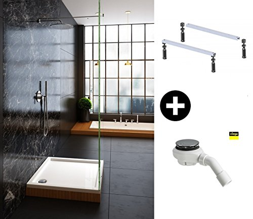 galdem duschwannen set komplett set mit duschwannenf e und viega ablaufgarnitur rechteck. Black Bedroom Furniture Sets. Home Design Ideas