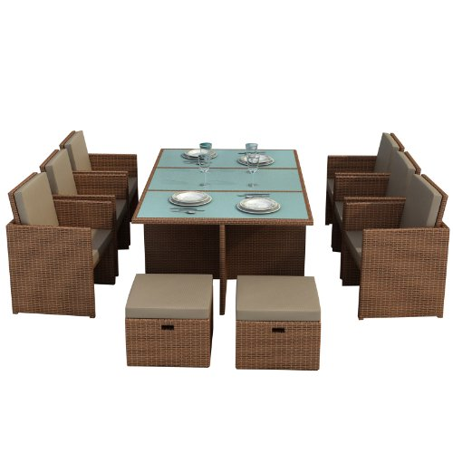 gartenmoebel bali hellbraun essgruppe garten moebel tisch mit 6 sthlen und 4 hocker incl glas. Black Bedroom Furniture Sets. Home Design Ideas