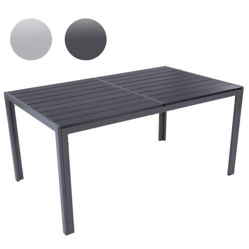 Gartentisch für bis zu 6 Personen, Alu Tisch Witterungs- und UV-beständig (Farbwahl) Gartenmöbel in hellgrau oder dunkelgrau - Maße: ca. 150x90 (LxB)