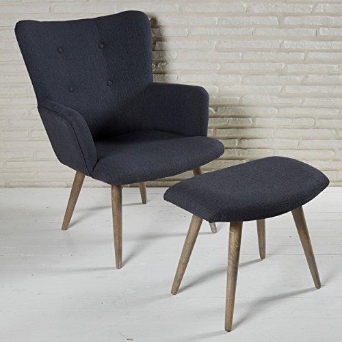 gem tlicher polstersessel mit armlehnen und hocker mit stoffbezug und holzbeinen perfekt zum. Black Bedroom Furniture Sets. Home Design Ideas