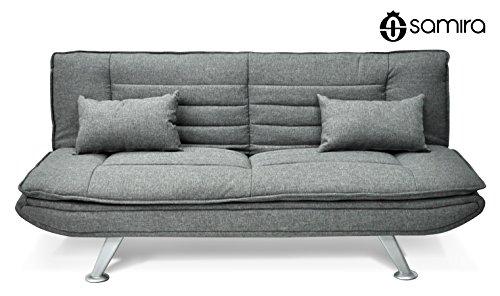 gewebe schlafsofa grau 3 sitzer schlafsofa mod iris mit kissen m bel24. Black Bedroom Furniture Sets. Home Design Ideas