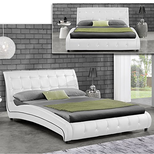 javi weiss doppelbett polsterbett bettgestell bett lattenrost kunstlederbett m bel24. Black Bedroom Furniture Sets. Home Design Ideas