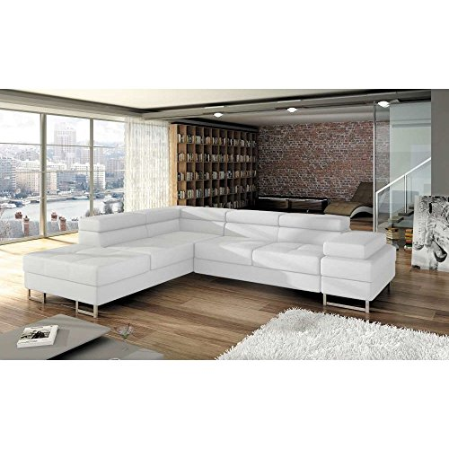 justhome tunis ecksofa eckcouch mit bettkasten schlafcouch kunstleder bxlxh 223x275x70 90 cm. Black Bedroom Furniture Sets. Home Design Ideas