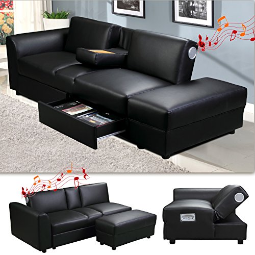 kin funktionssofa mit bluetooth schwarz schlafsofa sofa bettsofa couch m bel24. Black Bedroom Furniture Sets. Home Design Ideas