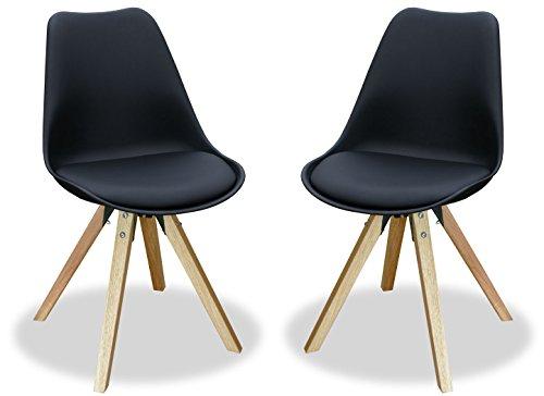 Kmh 2er set designstuhl angie schwarz beine eiche for Designstuhl angie