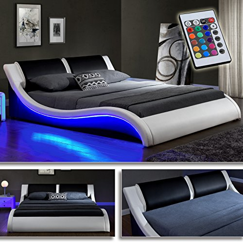 kentucky weiss schwarz doppelbett polsterbett led bett lattenrost kunstleder m bel24. Black Bedroom Furniture Sets. Home Design Ideas