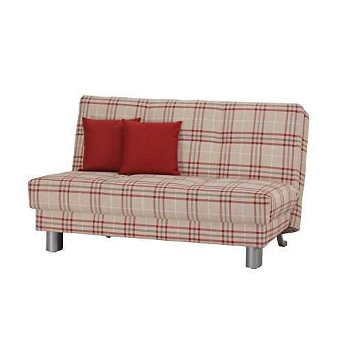 klappsofa in beige rot kariert stoff pharao24 m bel24. Black Bedroom Furniture Sets. Home Design Ideas