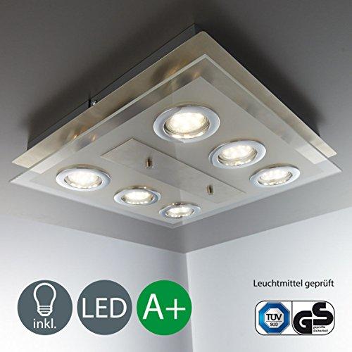 Led deckenleuchte 6 x gu10 3w lampe deckenlampe led for Deckenlampe eckig led