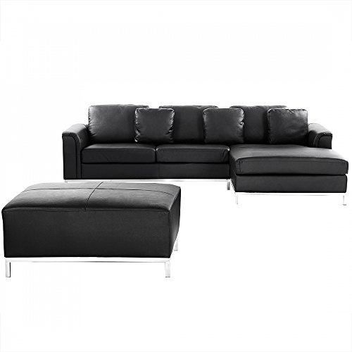 ledercouch schwarz ecksofa eckcouch l ledersofa oslo 0 m bel24. Black Bedroom Furniture Sets. Home Design Ideas