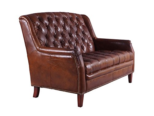 Ledersofa Cardiff 2-Sitzer im Chesterfield-Look Leder Vintage Cigar