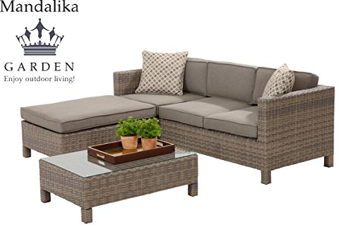 mandalika poly rattan lounge set bayano absolut wetterfest variable liegefl che sand twin. Black Bedroom Furniture Sets. Home Design Ideas