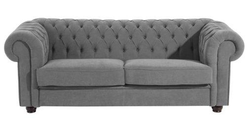 Max Winzer 2551-3880-2051714 Sofa London im Chesterfield Look, 3 Sitzer 2-geteilt, flauschiges Flachgewebe anthrazit