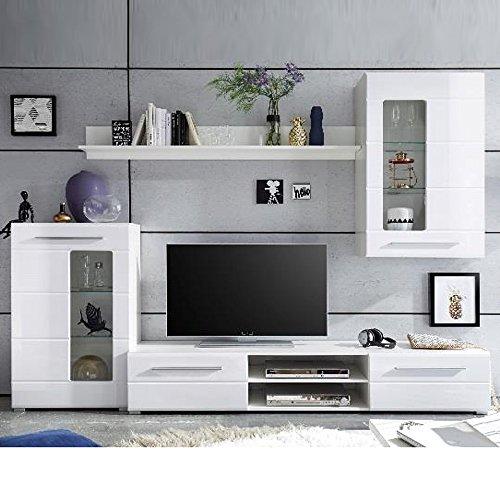 mbel akut wohnwand enrique 1 wohnzimmer anbauwand front wei hochglanz 0 m bel24. Black Bedroom Furniture Sets. Home Design Ideas