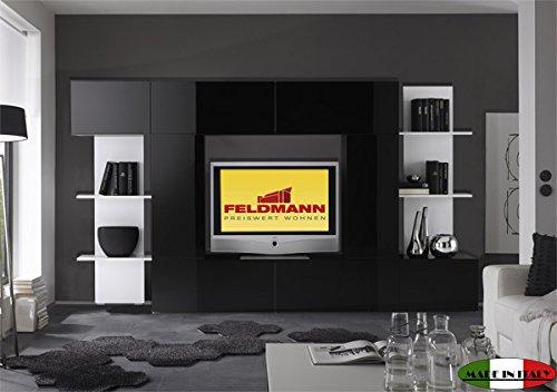 Mediawand 708008 anbauwand schwarz wei hochglanz 260cm for Anbauwand schwarz
