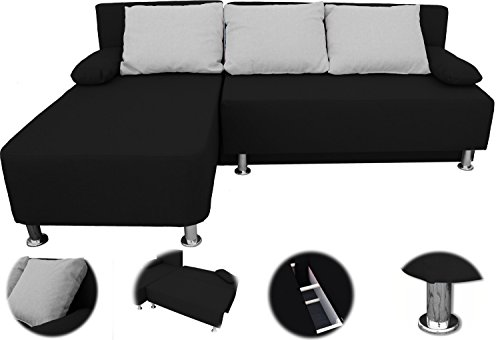 onux ecksofa couch mit schlaffunktion schwarz 0 m bel24. Black Bedroom Furniture Sets. Home Design Ideas
