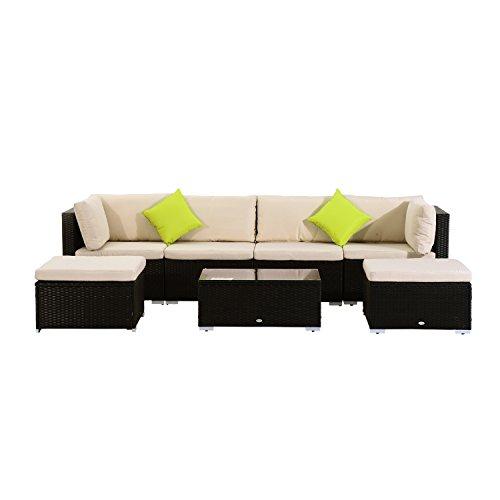 outsunny polyrattan gartenm bel 21tlg rattan gartenset sitzgruppe loungeset loungem bel. Black Bedroom Furniture Sets. Home Design Ideas