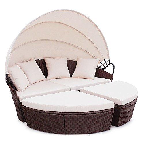 Poly rattan sunbed lounge gartenset sofa garnitur for Polyrattan loungemobel