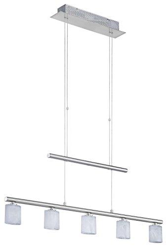 pendellampe 5 flammig h henverstellbar f r esszimmer glas pendelleuchte wohnzimmer k che. Black Bedroom Furniture Sets. Home Design Ideas