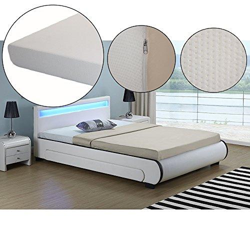 polsterbett bilbao 140 x 200 cm wei mit lattenrost kaltschaummatratze 0 m bel24. Black Bedroom Furniture Sets. Home Design Ideas