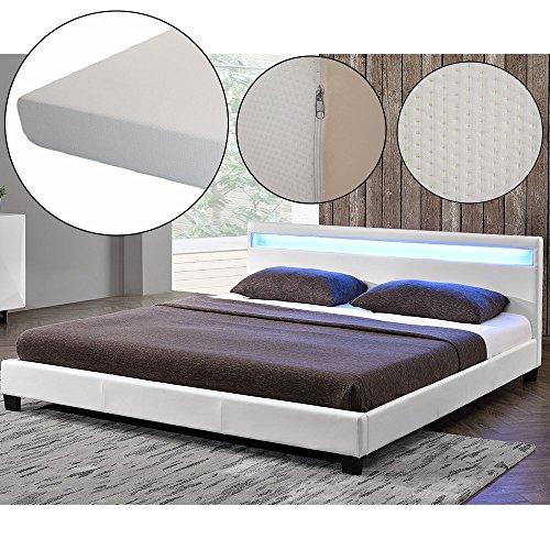 polsterbett paris 140 x 200 cm wei mit lattenrost. Black Bedroom Furniture Sets. Home Design Ideas