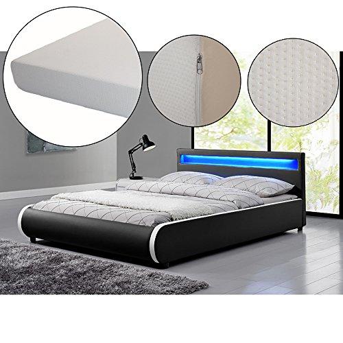polsterbett sevilla 140 x 200 cm schwarz mit lattenrost kaltschaummatratze 0 m bel24. Black Bedroom Furniture Sets. Home Design Ideas