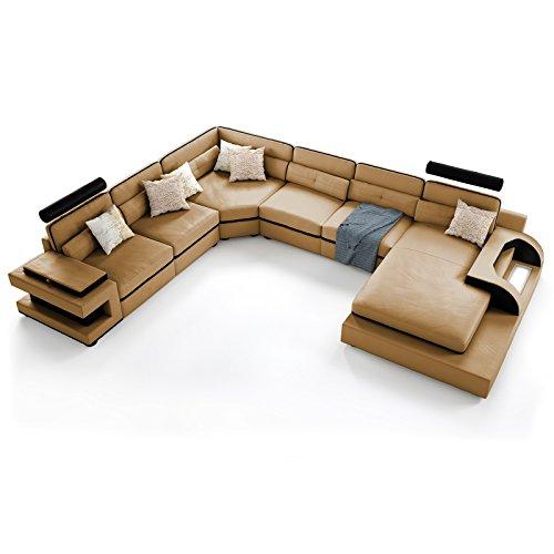 polsterecke lugano mit beleuchtung farbwahl wohnlandschaft polsterecke couchgarnitur echtleder. Black Bedroom Furniture Sets. Home Design Ideas
