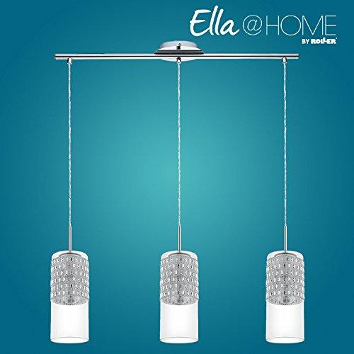 roller pendelleuchte senzana chrom glas 3 flammig. Black Bedroom Furniture Sets. Home Design Ideas