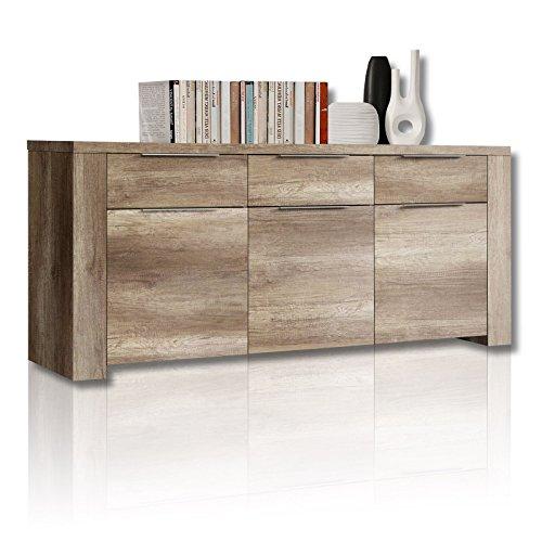 newface calpe sideboard mit 3 t ren und 3 schubk sten holz eiche antik 188 8 x 50 3 x 82 8 cm. Black Bedroom Furniture Sets. Home Design Ideas