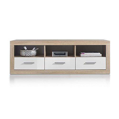 roller tv lowboard can can sonoma eiche wei 147 cm breit m bel24. Black Bedroom Furniture Sets. Home Design Ideas