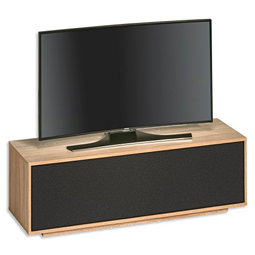 roller tv lowboard sonoma eiche akustik stoff 134 cm. Black Bedroom Furniture Sets. Home Design Ideas