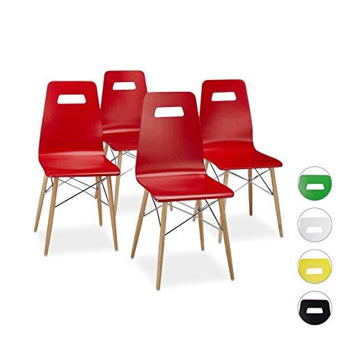 relaxdays design stuhl 4 er set arvid holz esszimmer stuhl modern hxbxt 92 x 43 x 40 cm. Black Bedroom Furniture Sets. Home Design Ideas