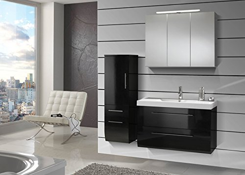 sam design badmbel set zrich in hochglanz schwarz 3 teilig 90 cm beckenauswahl mgliche varianten. Black Bedroom Furniture Sets. Home Design Ideas