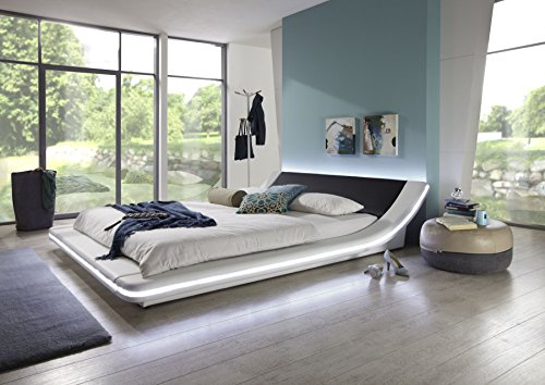 sam polsterbett bett custavo led in wei schwarz 160 x 200 cm abgerundetes modernes design. Black Bedroom Furniture Sets. Home Design Ideas