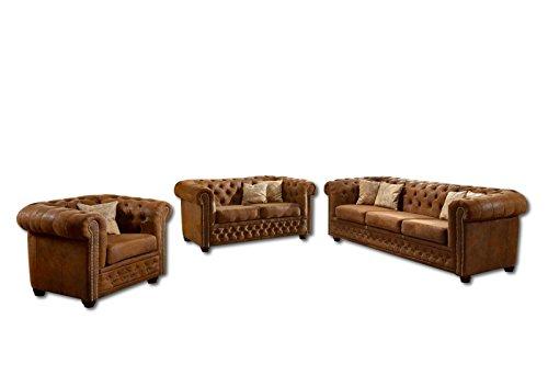 SAM® Sofagarnitur York Chesterfield Wildlederoptik Gobi 3tlg. 3-Sitzer 2-Sitzer Sessel Lieferung erfolgt montiert per Spedition