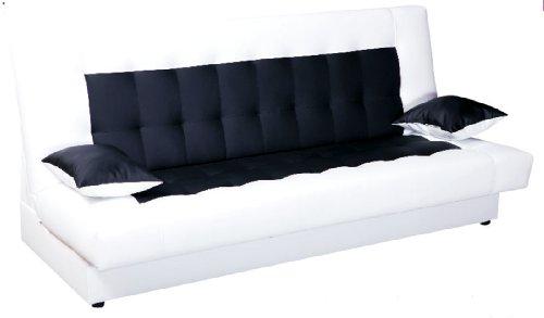 schlafsofa funktionssofa sofa bett incl kissen weiss schwarz mit bettkasten m bel24. Black Bedroom Furniture Sets. Home Design Ideas