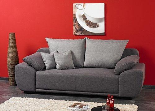 schlafsofa mit laminat bettkasten in strukturstoff grau federkernpolsterung 2 r ckenkissen 2. Black Bedroom Furniture Sets. Home Design Ideas