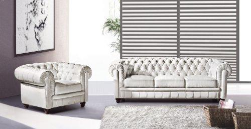 Sessel Sofa Couch Chesterfield 3-Sitzer Modell YS-2008-3 rot, feinstes Leder