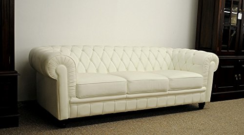 Sessel Sofa Couch Chesterfield 3-Sitzer Modell YS-2008-3 weiss feinstes Leder