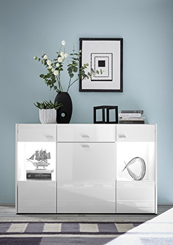 sideboard kommode weiss hochglanz breite 120 cm mit beleuchtung st 6w ix sb m bel24. Black Bedroom Furniture Sets. Home Design Ideas