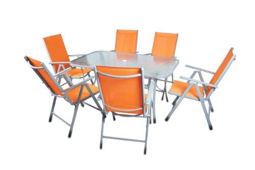 sitzgarnitur gartengarnitur tisch st hle orange glastisch