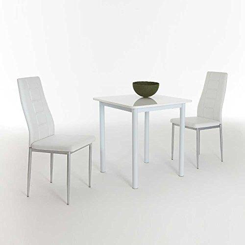 sitzgruppe f r k che wei hochglanz 3 teilig pharao24. Black Bedroom Furniture Sets. Home Design Ideas