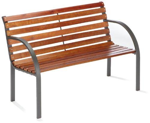 stahl holz bank menorca 2 er 122 cm anthrazit brema 053 m bel24. Black Bedroom Furniture Sets. Home Design Ideas