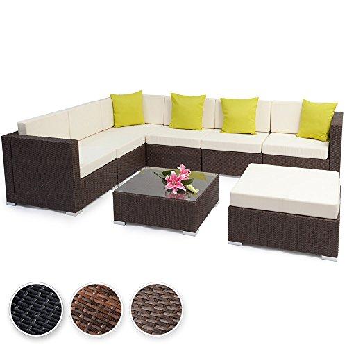 tectake hochwertige aluminium polyrattan lounge sitzgruppe mit glastisch inkl kissen diverse. Black Bedroom Furniture Sets. Home Design Ideas