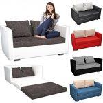 VCM 2er Couch / Sofa mit Schlaffunktion / Stoff oder Kunstleder