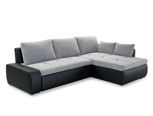 wohnlandschaft amarin 235x180 cm grau schwarz funktionssofa eckcouch polsterecke bettkasten. Black Bedroom Furniture Sets. Home Design Ideas