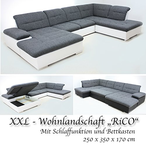 wohnlandschaft rico mit schlaffunktion und bettkasten 210 x 350 x 170 m bel24. Black Bedroom Furniture Sets. Home Design Ideas